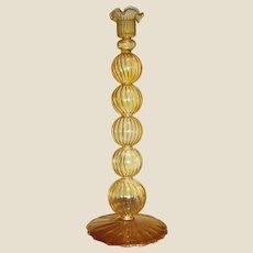 Exquisitely Thin Hand Blown Venetian Swirled Yellow Glass Candlestick