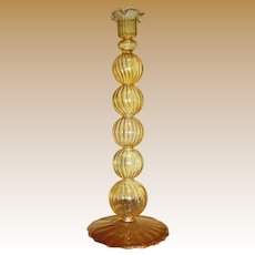 Exquisitely Thin Hand Blown Venetian Swirled Yellow Glass Candlestick