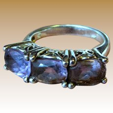 Sterling & 3 Ct Amethyst Ring w/ Beautiful Galleried Setting, Size 7, 5.4 grams