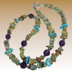 """18"""" Sterling, Faceted Amethyst & Turquoise Nugget Necklace"""