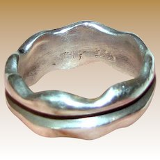 Signed TIK Sterling Silver Heavy Band Ring, Sz 9.5, 10.3 Grams, Perfect Thumb Ring!