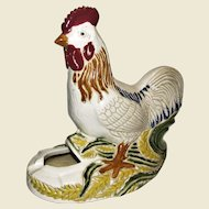 Large Hand Painted Rooster Ashtray, Mid-Century Pottery