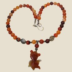 """18"""" Carved Carnelian Koi Fish & Sterling Silver Necklace"""