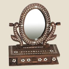 Bone Inlaid Walnut Vanity Mirror w/ Drawer, Hand Made in India
