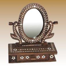 Bone Inlaid Walnut Vanity Mirror w/ Drawer, Hand Made in India