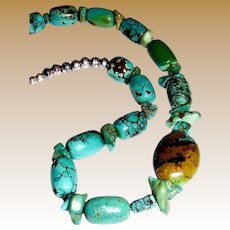"""Chinese Turquoise & Sterling Bench Bead 20"""" Necklace"""
