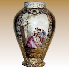 "Huge 1900's 11"" Dresden Hand Painted Porcelain Vase"