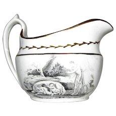 c.1820's Staffordshire Transferware Cream Pitcher, Romulus & Remus
