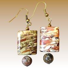 "Stylish 1 1/8"" Cut Stone Bead Earrings"