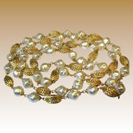 """Sophisticated 54"""" Faux Pearl & Gilt Filigree Bead Necklace"""