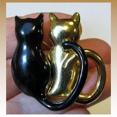 Charming Twin Kitty Pin in Black Enamel & Goldtone