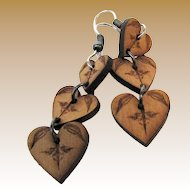 Pretty Hand Made Triple Heart Wooden Drop Earrings
