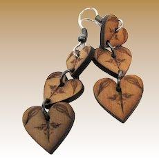 Pretty Hand Made Triple Heart Wooden Drop Earrings