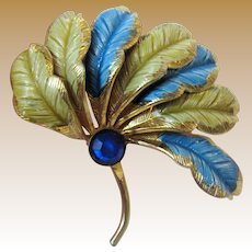 Unusual Large Feather Fan Pin w/ Blue Crystal