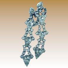 Unsigned 60's Rhinestone Chandelier Earrings, Clip Backs, Bridal