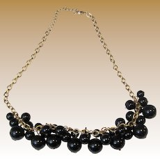 Bunchy Black Bead Bib Necklace on Goldtone Chain