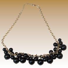 Bunchy Black Bead Bib Necklace on Goldtone Chain