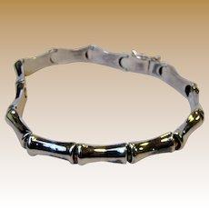 "Italian 7 1/4"" Sterling Bamboo Style Link Bracelet, 11.3 grams"