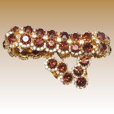 Kramer Topaz & Clear Rhinestone Vintage Bracelet & Earring Set