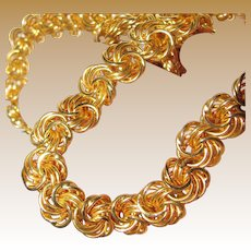 Napier Vintage Gold Tone Ornate Link Necklace