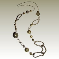"""Elegant 36"""" Asymmetrical Chain Link Old Gold Tone Necklace"""