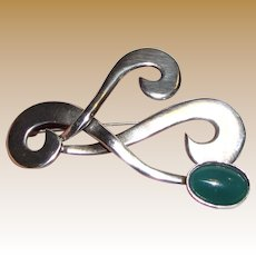 "Modernist Taxco 2 3/8"" Sterling Chrysoprase Brooch, 13 grams"