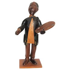 Italian Hand Carved Hardwood Sculpture of an Artist