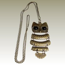 """1970's Articulated Owl 24"""" Pendant Necklace"""