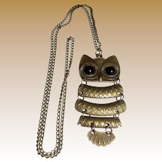 "1970's Articulated Owl 24"" Pendant Necklace"