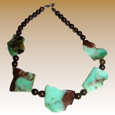 """Slab Chrysophrase, Sterling & Tiger Iron Bead 19"""" Necklace"""