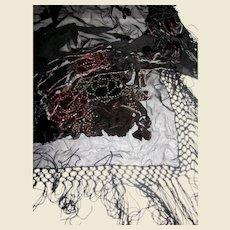 "54"" Sq Cut Velvet & Glass Bead Embellished Piano Shawl (w/ 8"" Fringes!)"
