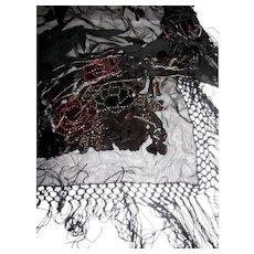 """Large Cut Velvet & Glass Bead Embellished Piano Shawl w/ 8"""" Fringes"""