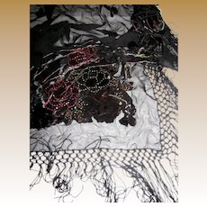 "Large Cut Velvet & Glass Bead Embellished Piano Shawl w/ 8"" Fringes"