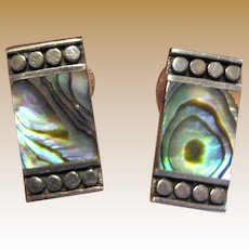 Beautiful Sterling & Abalone Modernist Pierced Earrings