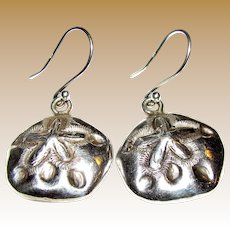 Signed Mexico Taxco Sterling Sand Dollar Earrings