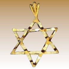 14K Gold Bright Cut Star of David Charm Pendant