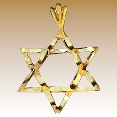 14K Gold Bright Cut Star of David Charm Pendant