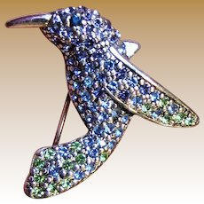 Monet Hummingbird Pin, Silvertone w/ Blue & Green Swarovski Crystals