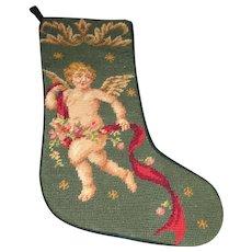 Charming Winged Cherub Wool Needlepoint Stocking