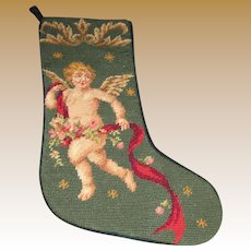 Charming Winged Cherub Wool Needlepoint Stocking