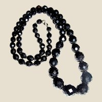 """Vintage 30"""" Graduated French Jet Faceted Bead Necklace"""