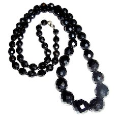 "Vintage 30"" Graduated French Jet Faceted Bead Necklace"