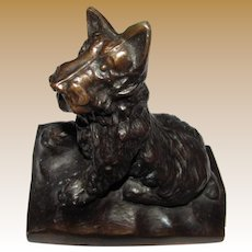 Art Deco Copper Clad Spelter Sculptural Scottie Bookend