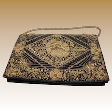 Vintage Bullion Embroidered Clutch Handbag
