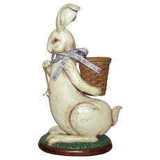 "Large Vintage 15"" Rabbit w/ Bow & Basket"