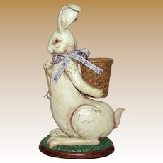 "Large Vintage 15"" Rabbit w/ Bow & Basket"