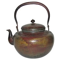 "Signed Antique Japanese Copper Covered Teapot, Hand Hammered, 19th Century, 9"" Tall"