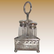 Antique Cut Glass Triple Shaker Set w/ Sterling Lids & Caddy