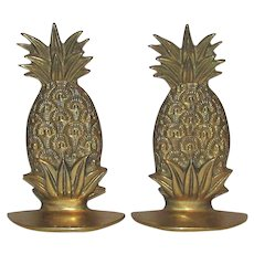 "Vintage 6"" Brass Pineapple Bookends, Nicely Detailed, Like New"
