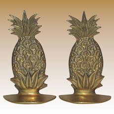 """Vintage Brass Pineapple Bookends Verdigris Nicely Detailed 6"""" x 4"""", Like New"""